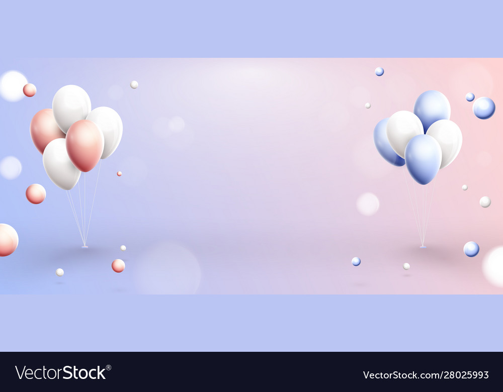 Pink blue and white balloons in pastel background