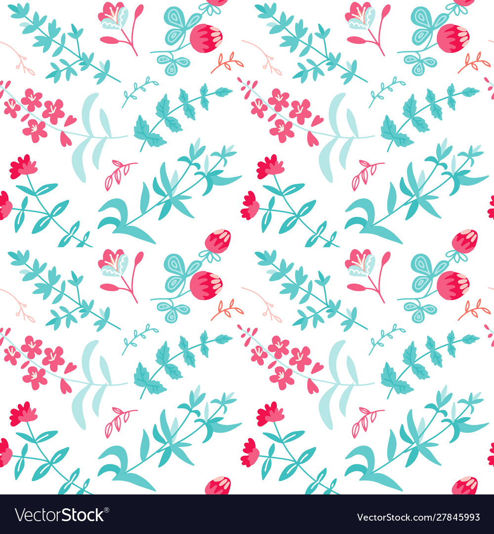 Seamless pattern with herbal tea plants