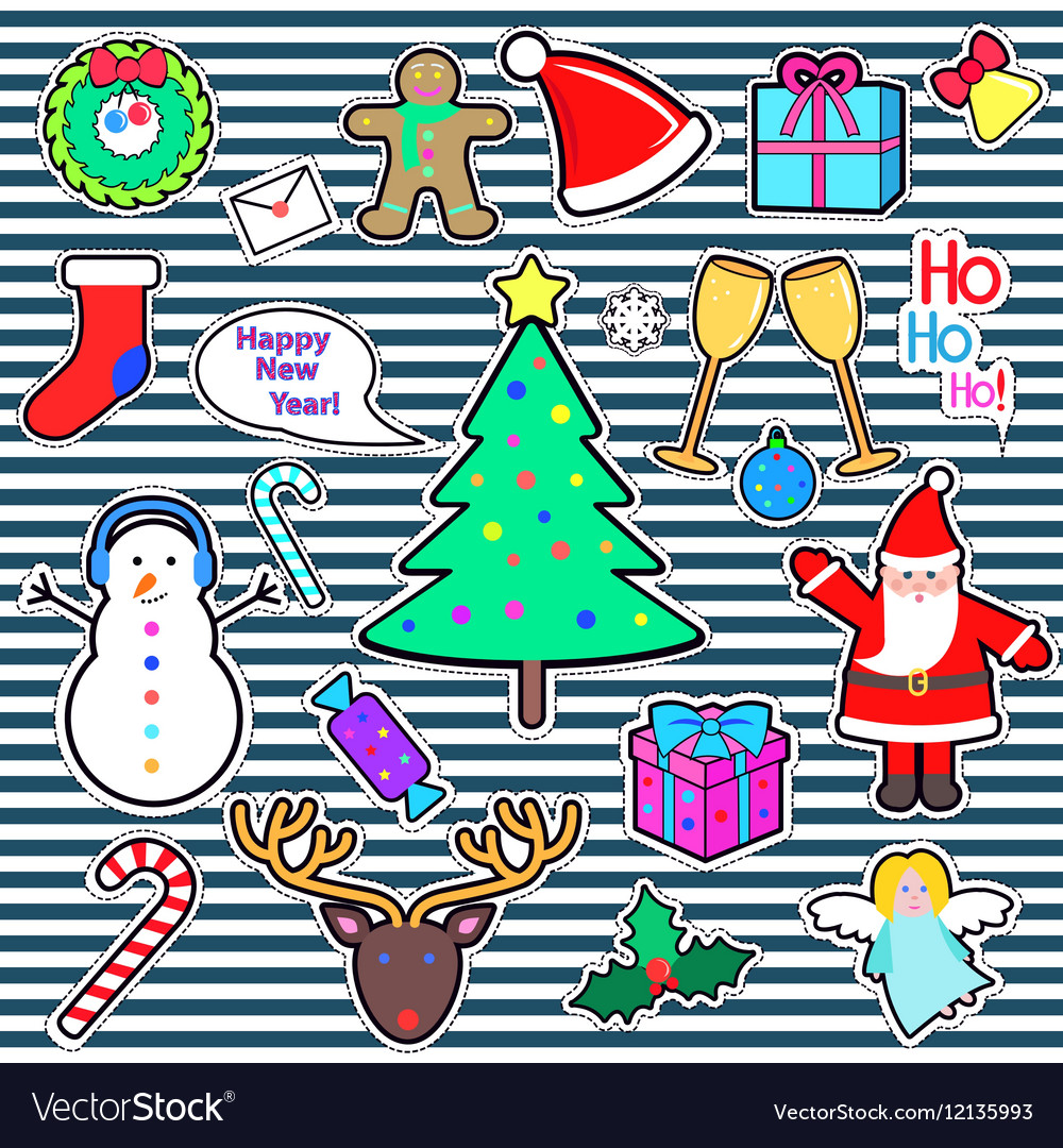 Set of Happy New Year and Merry Christmas Elements vector image