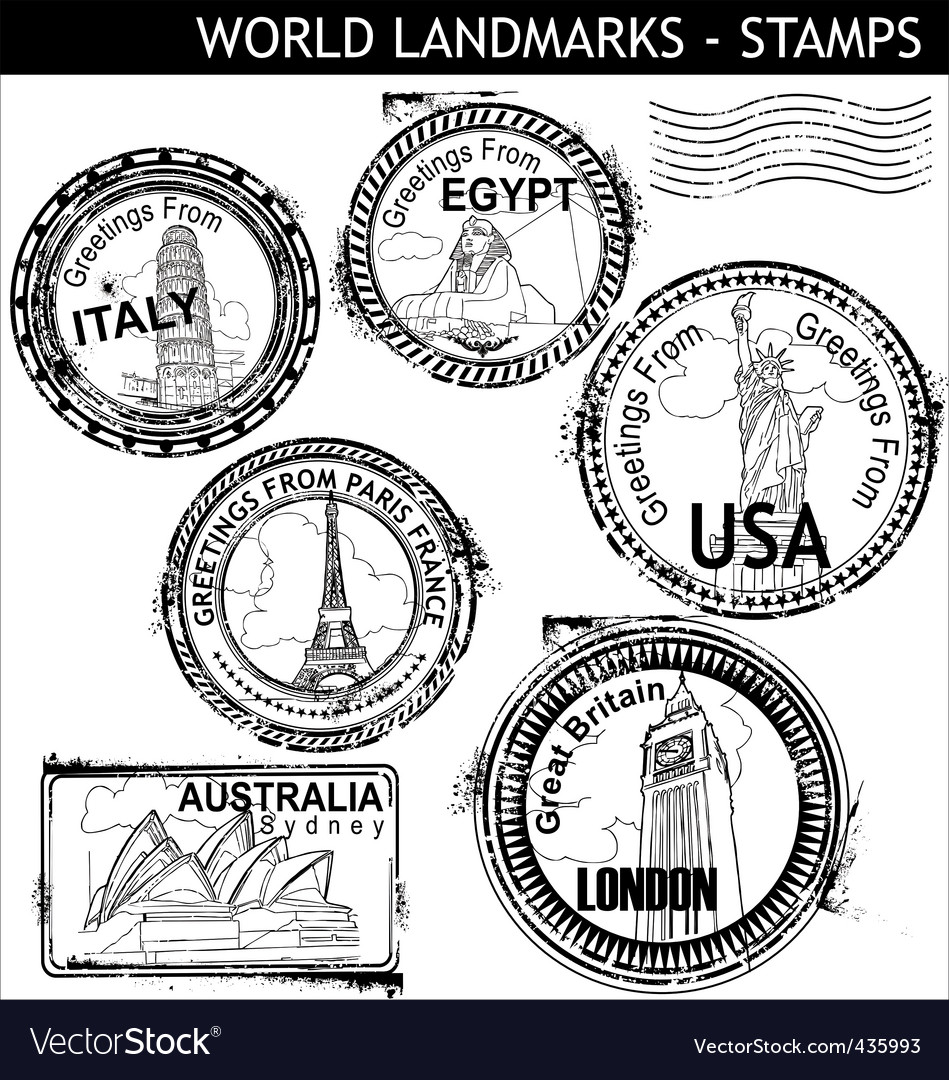 World landmarks stamps