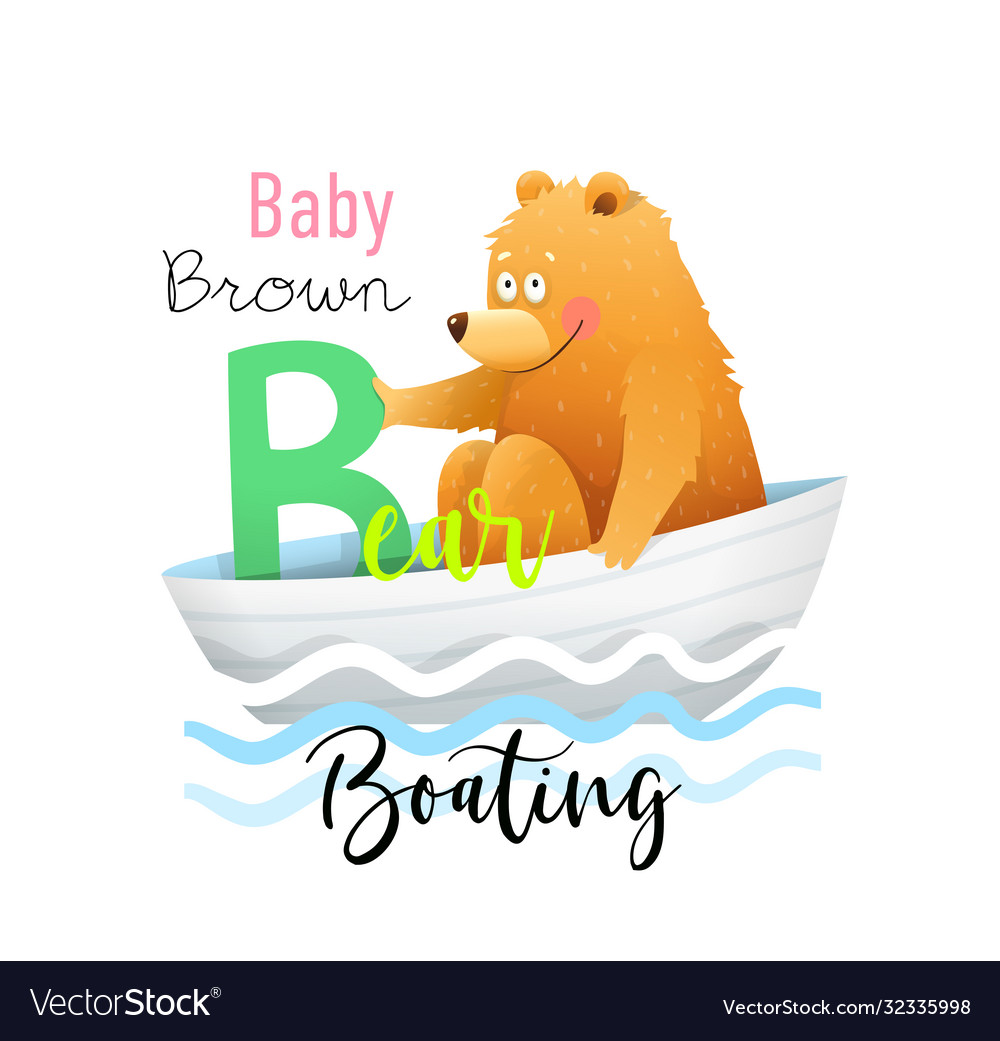 Abc for kids funny babear for letter b