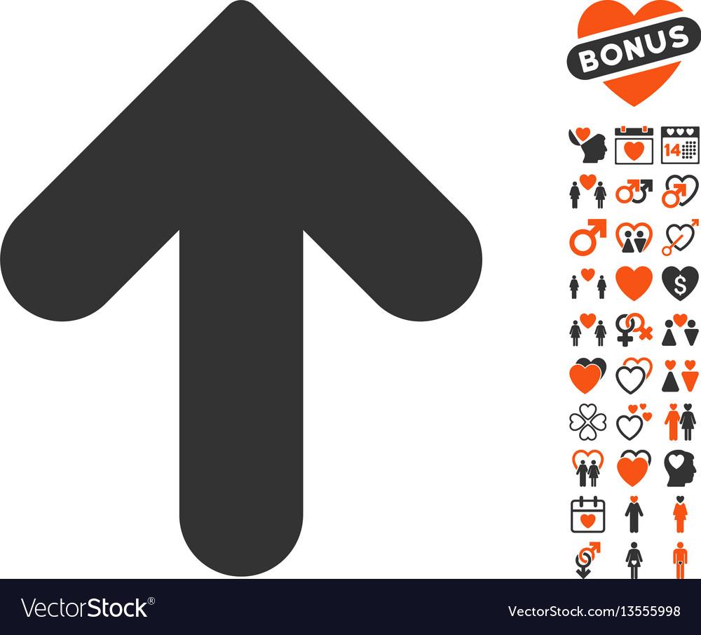 Arrow up icon with valentine bonus