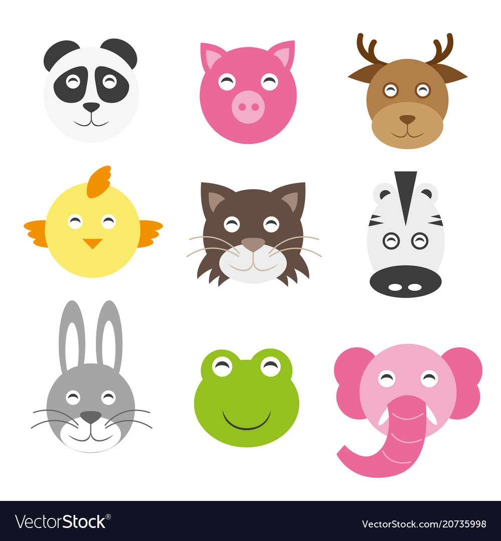 Cute cartoon animals head round shape in flat
