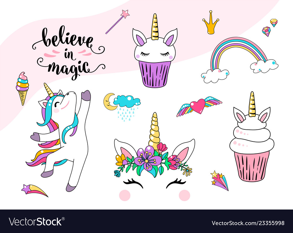 Cute unicorn with cupcake dancing little