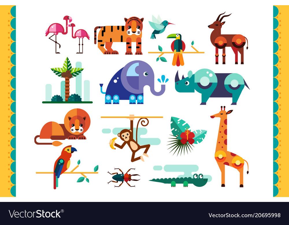 Jungle animals birds and plants set summer