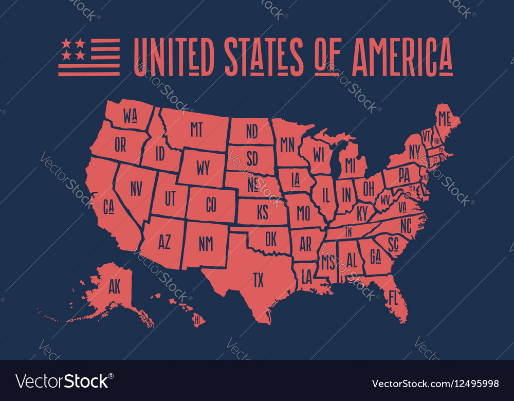 Poster Of Usa Map.Poster Map United States Of America With State Vector Image