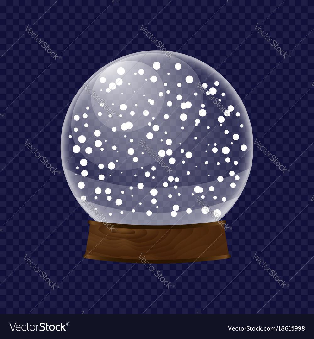Realistic transparent snow globe