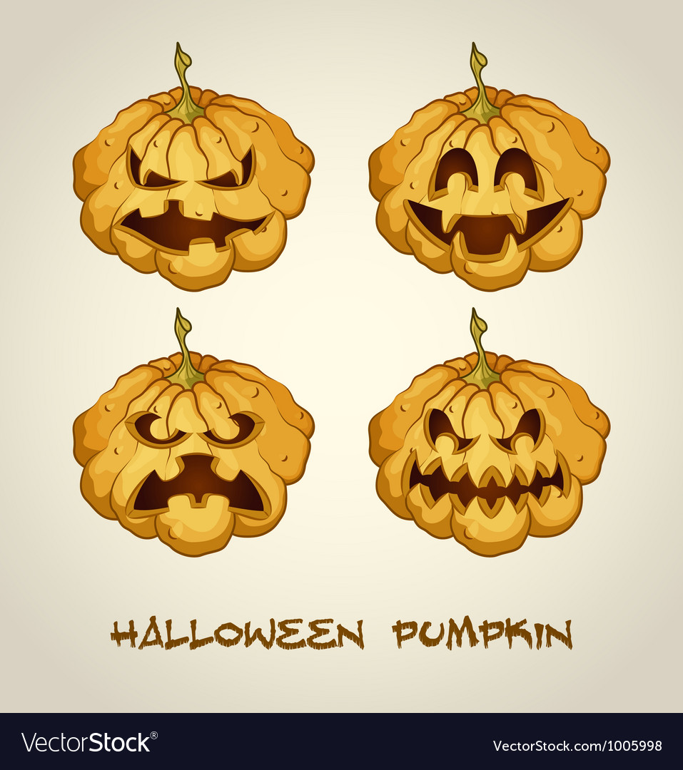 Set of spooky jack o lanterns vector image