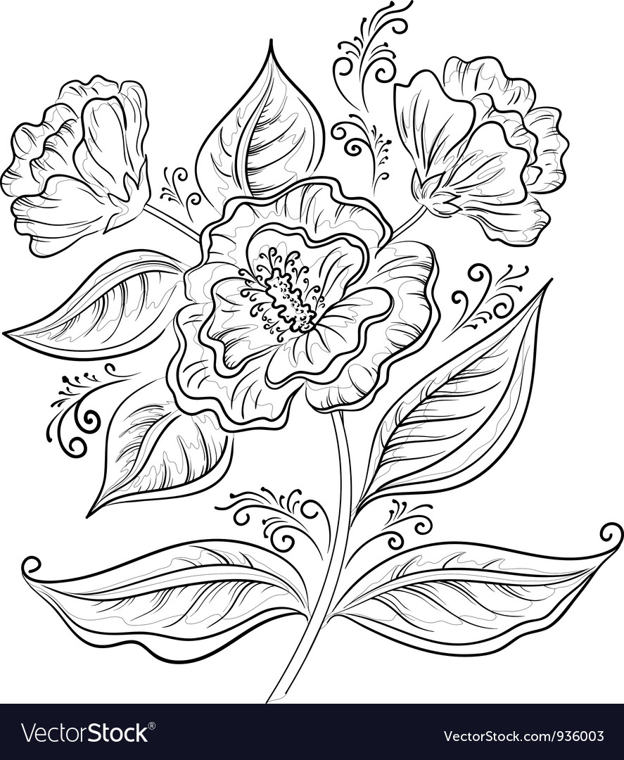 Abstract Flower Outline