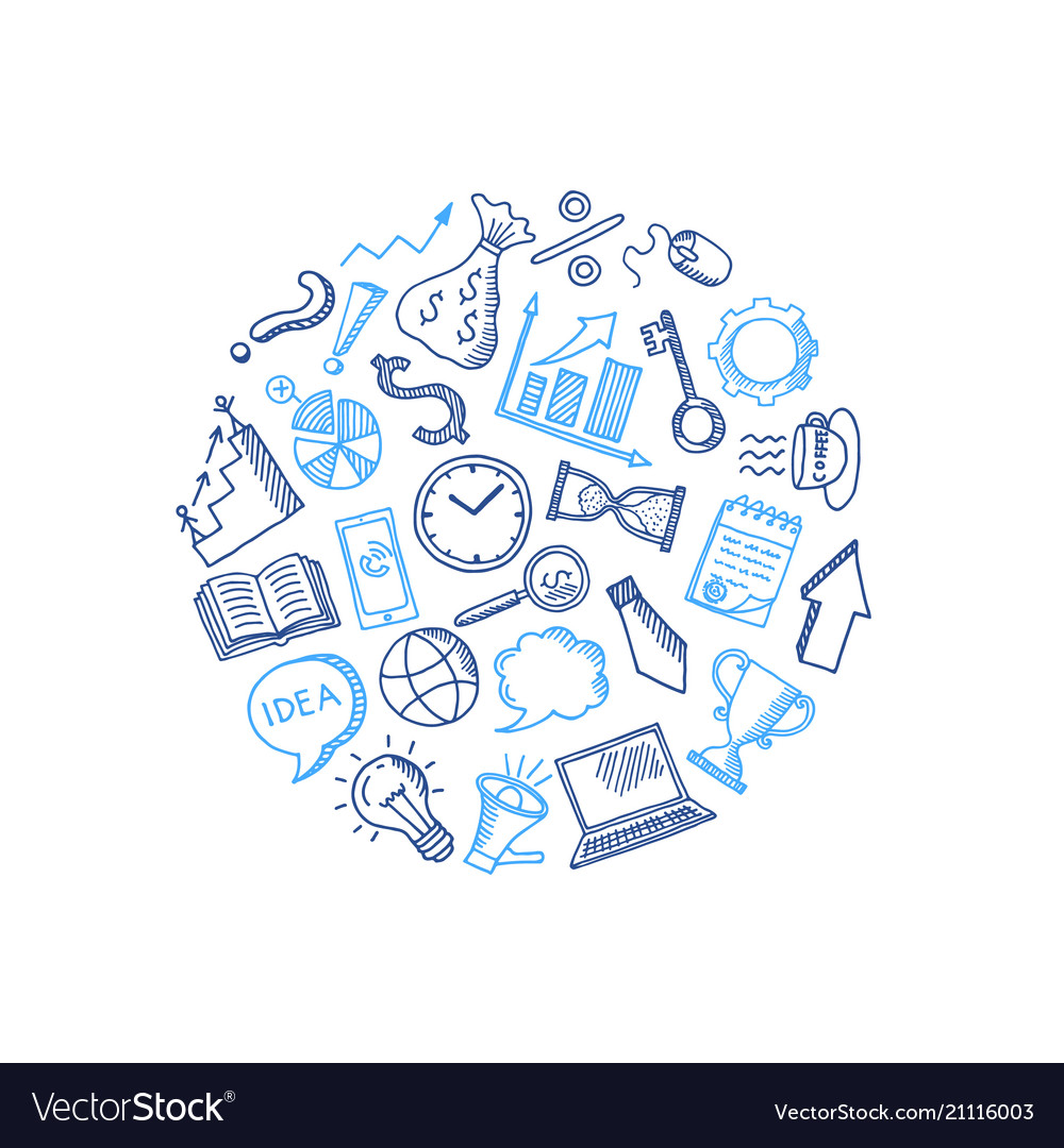 Business doodle icons in circle shape