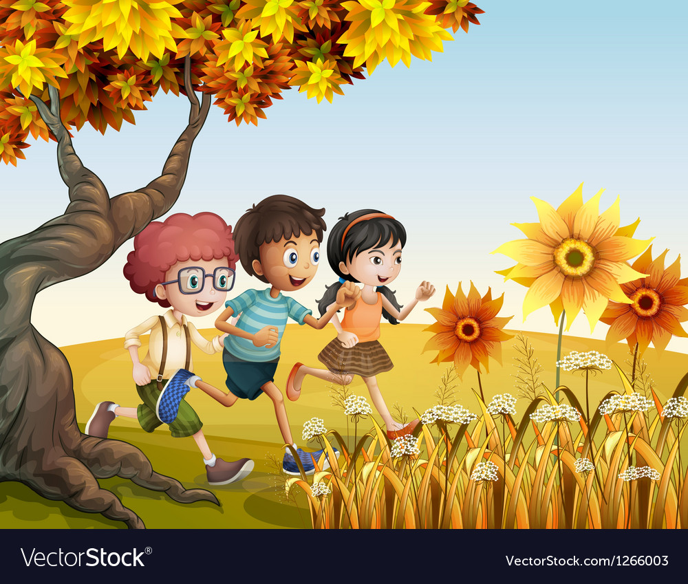 Children running at the hill with sunflowers