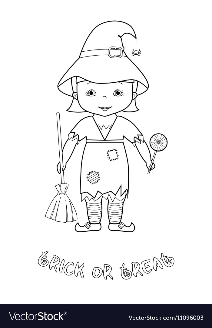 Halloween Coloring Page With Cute Witch