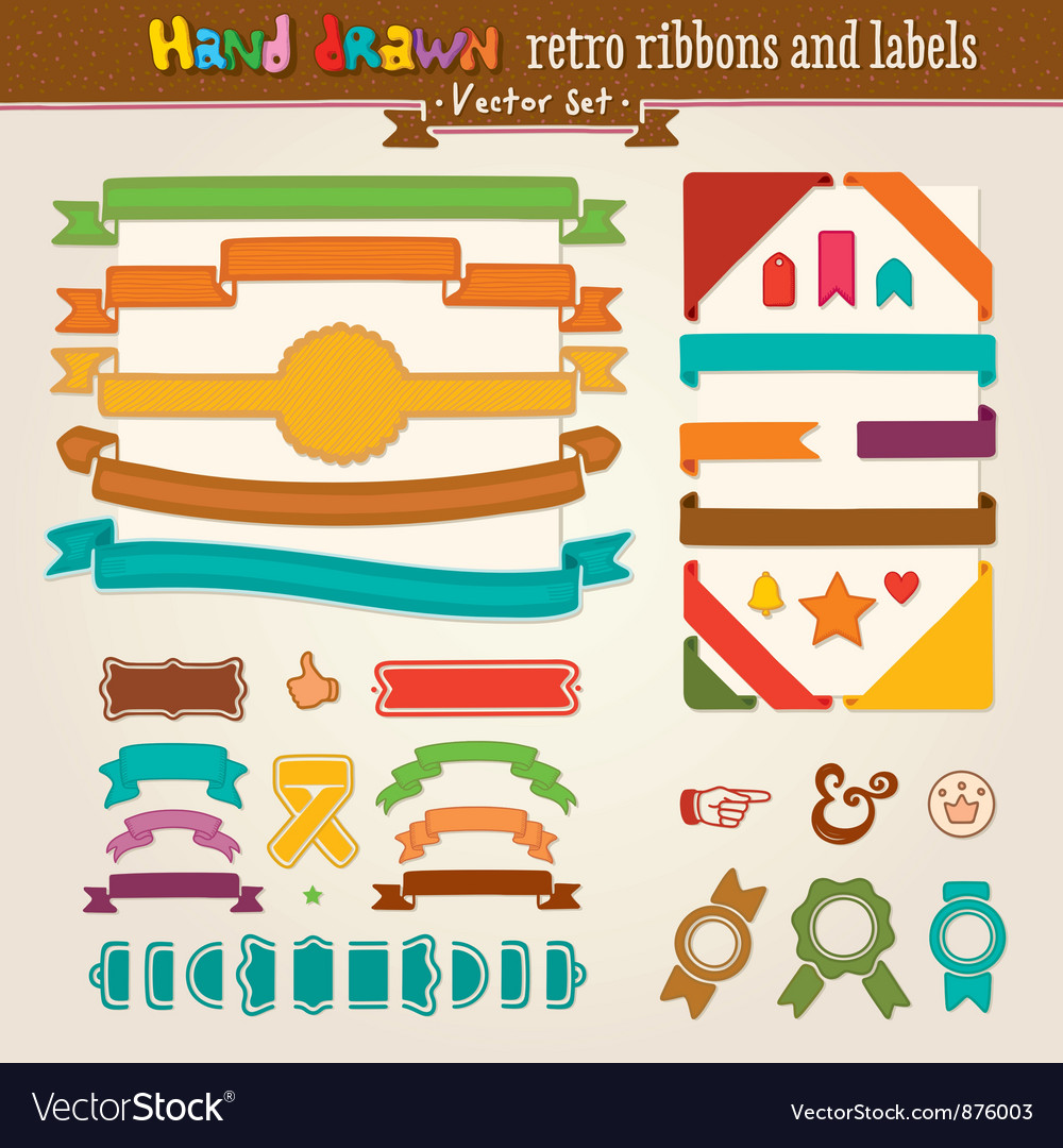 Hand Draw Set Of Retro Ribbons vector image
