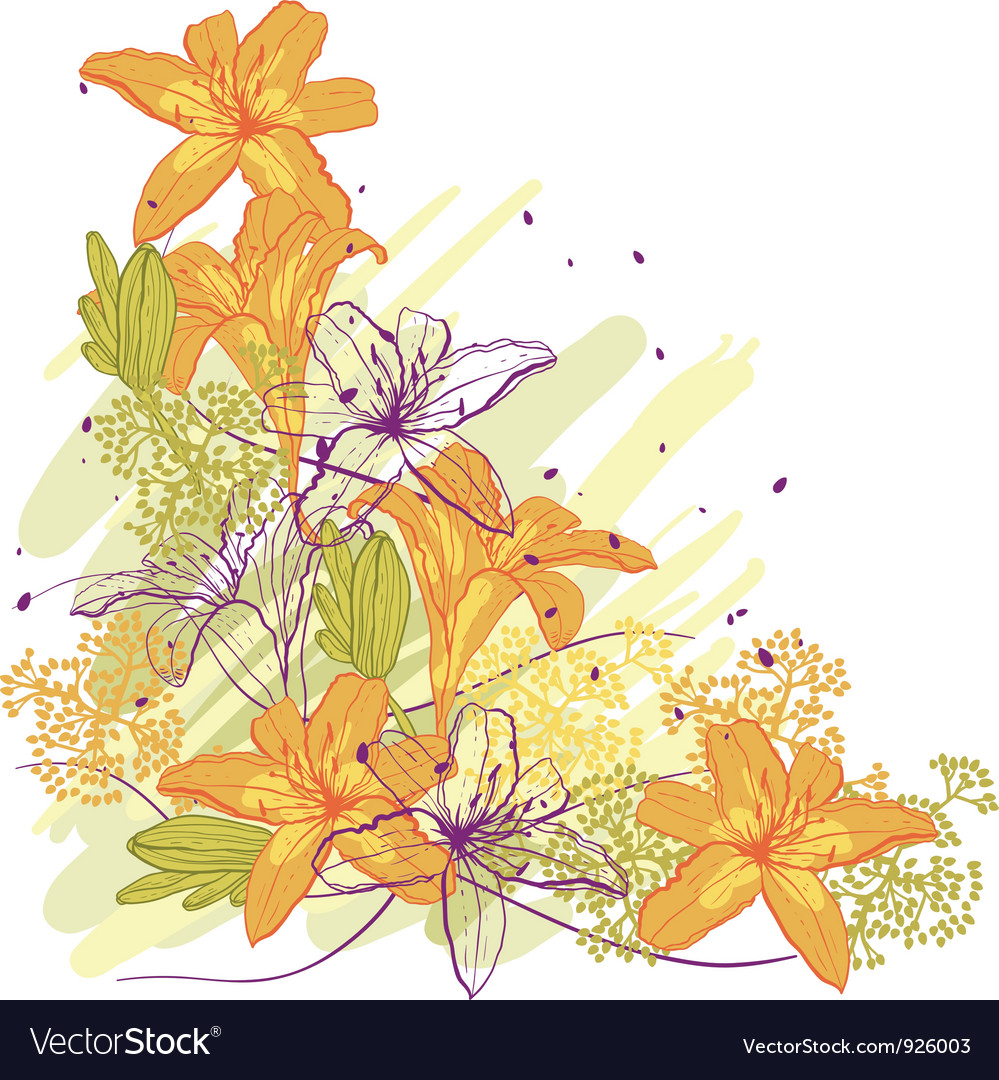 Lily flower abstract background template for you