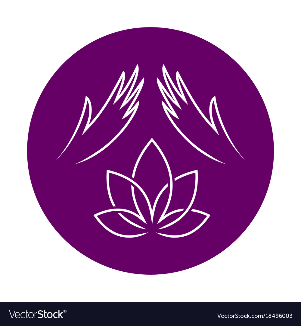 Massage logo with elegant woman hands and lotus