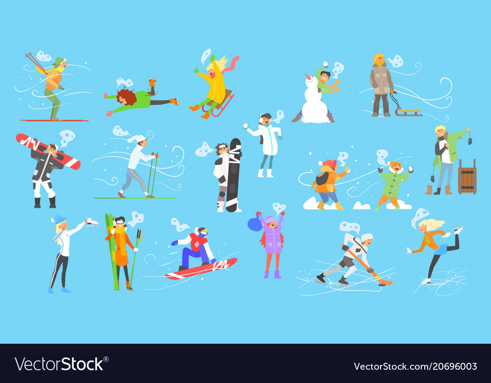 People engaged in winter sports adult and vector image