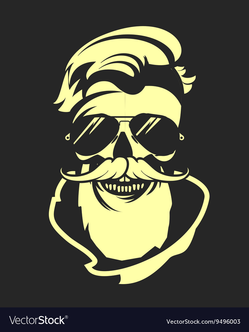 Skull with beard in sunglasses