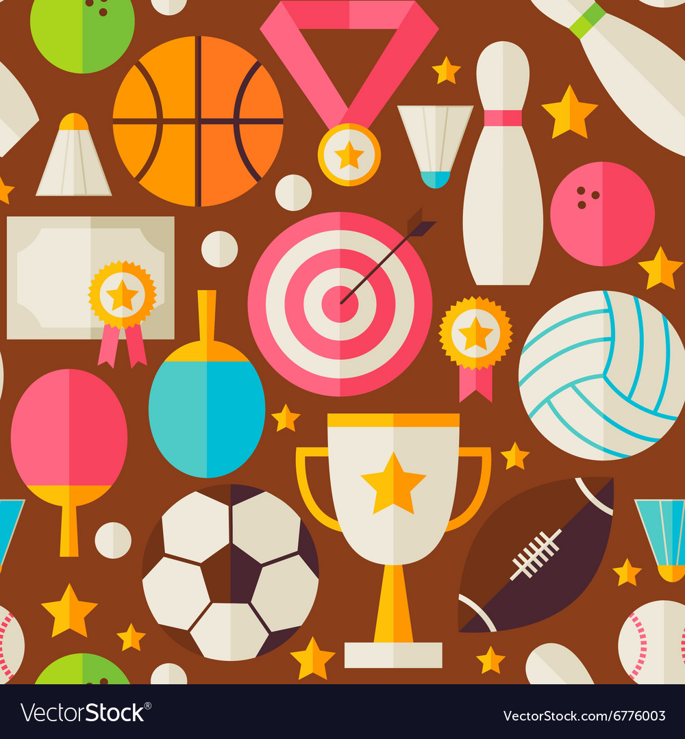 Sport Recreation Competition Flat Design Brown vector image
