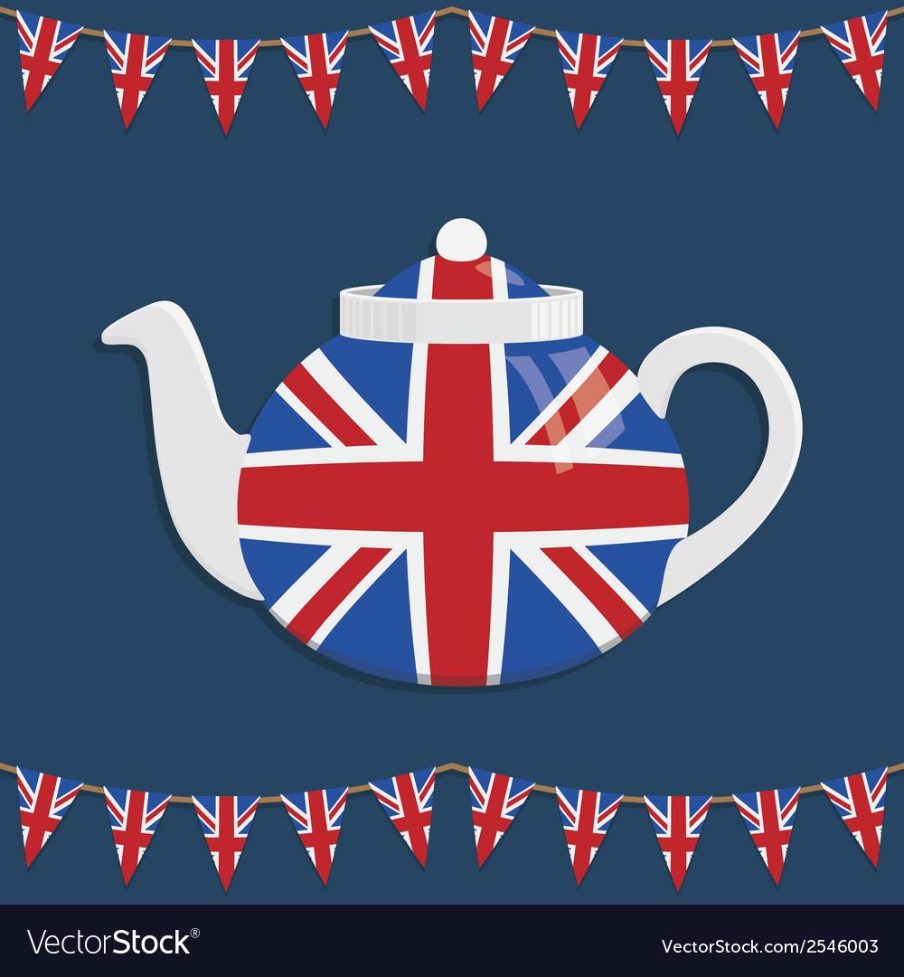 Union jack teapot vector image