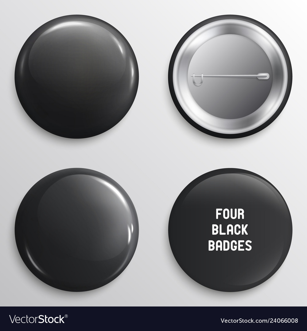 Blank black glossy badges or web buttons