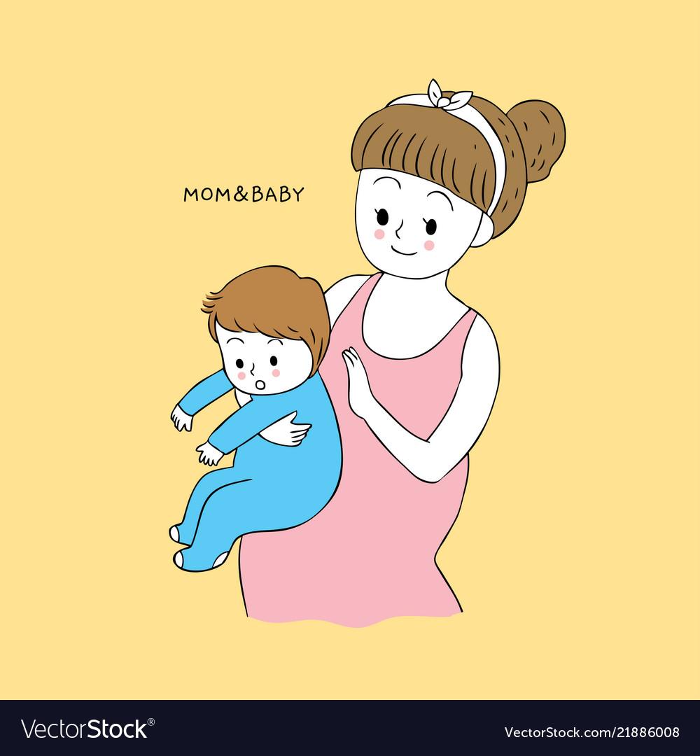 Cartoon Cute Mom And Baby Burping Royalty Free Vector Image