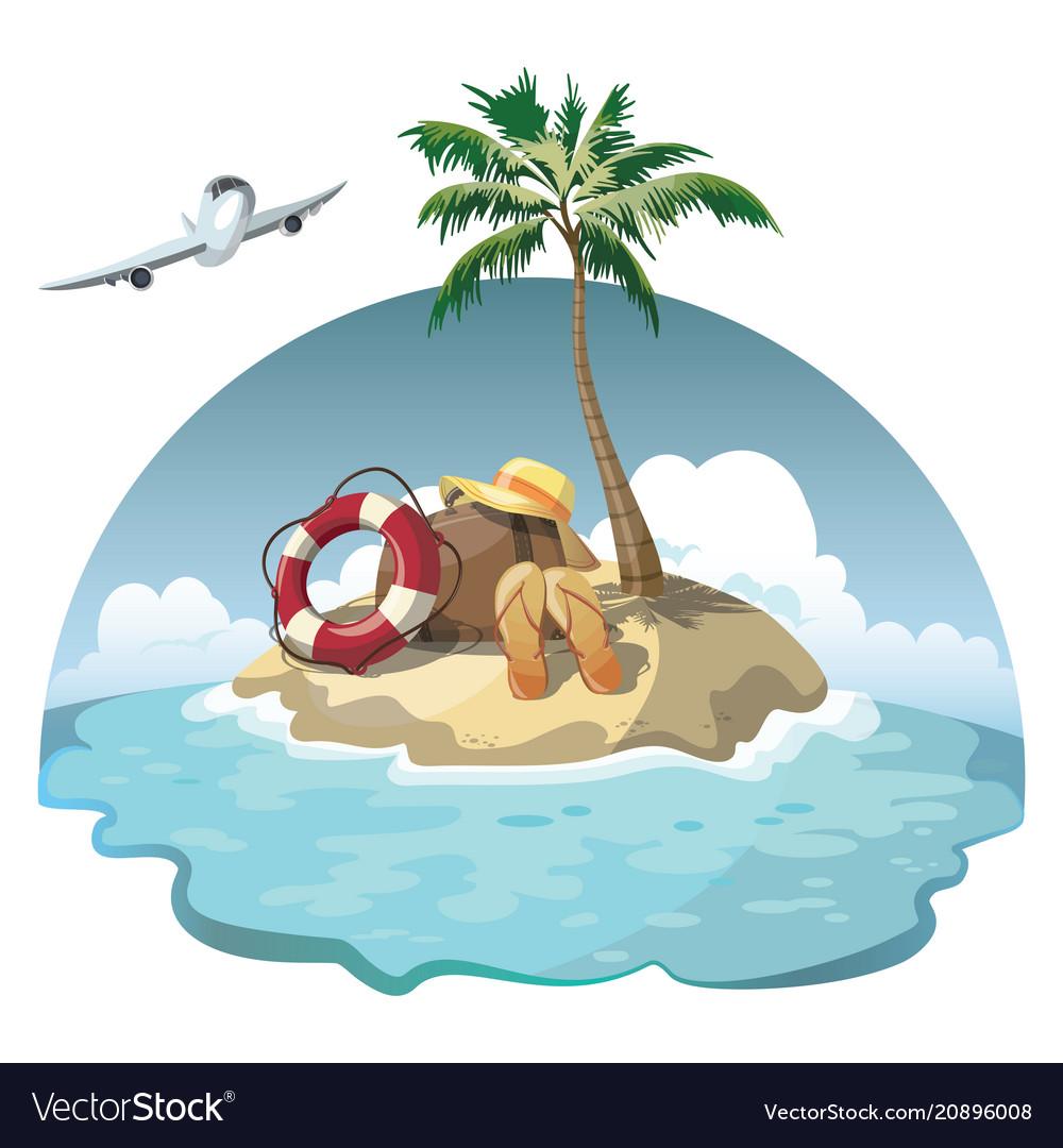 Cartoon island in the sea with luggage