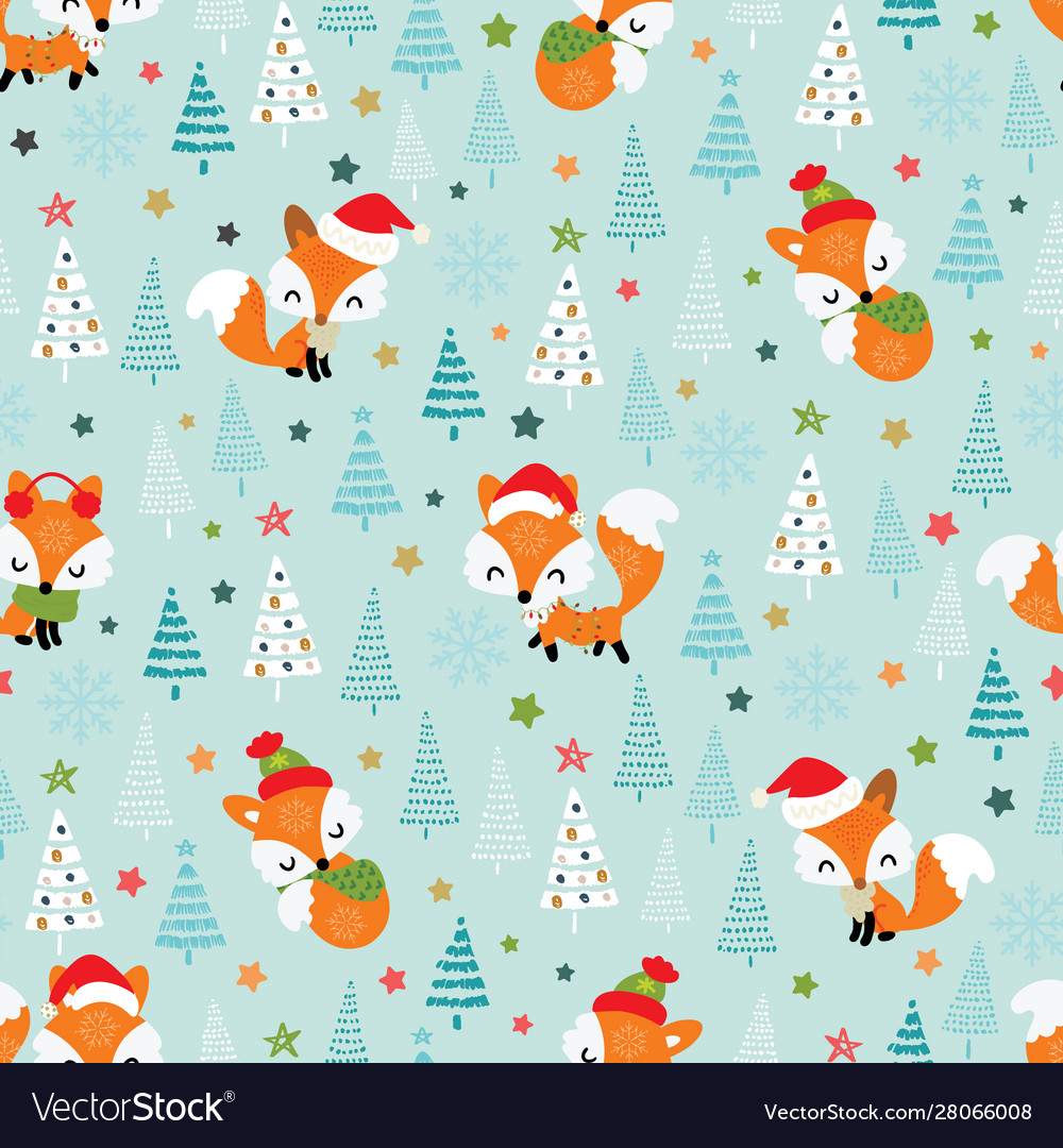 Christmas seamless pattern with cute little foxes
