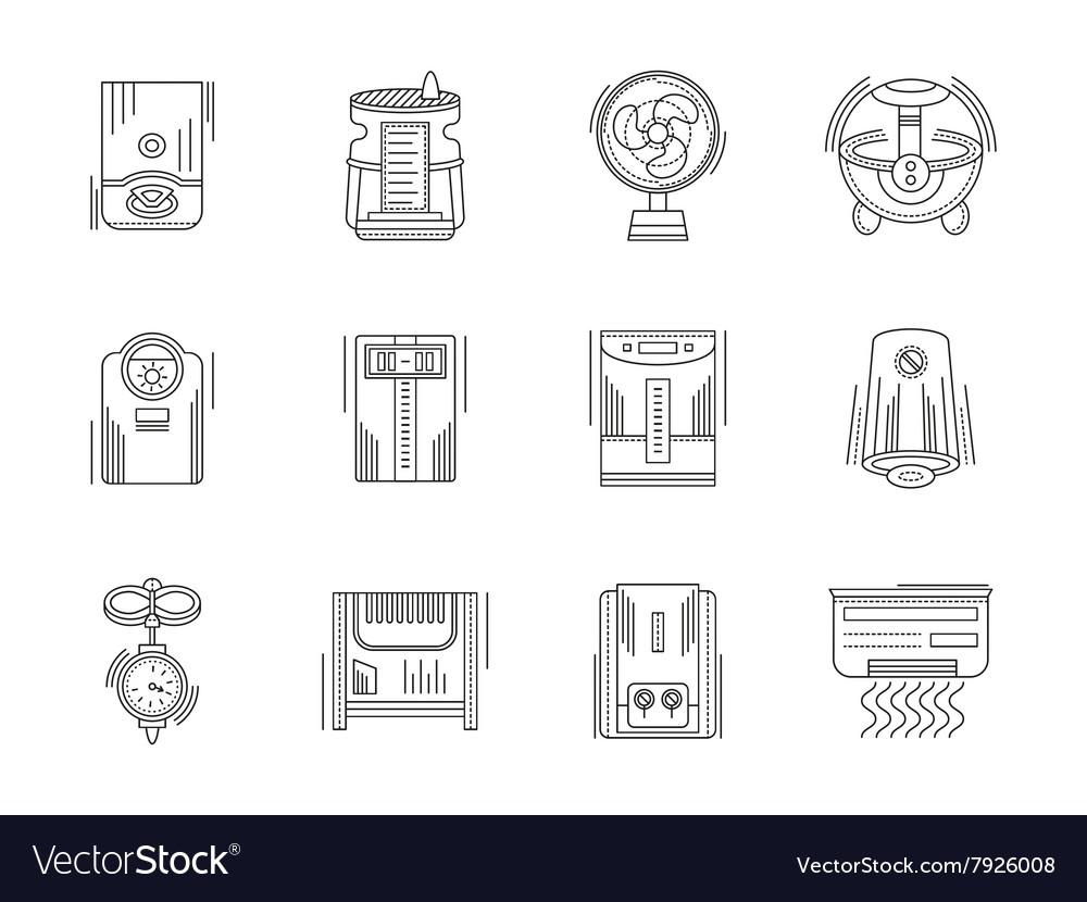 Climate appliances linear icons set