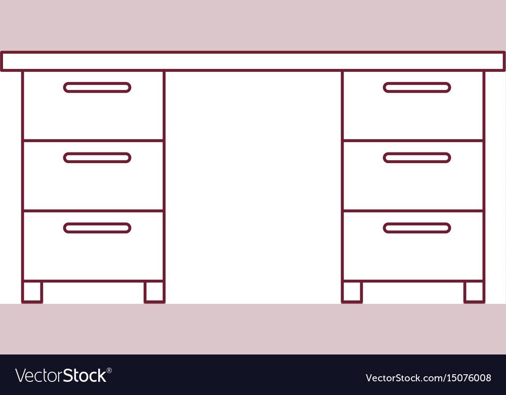 Dark red line contour of wooden office desk vector image