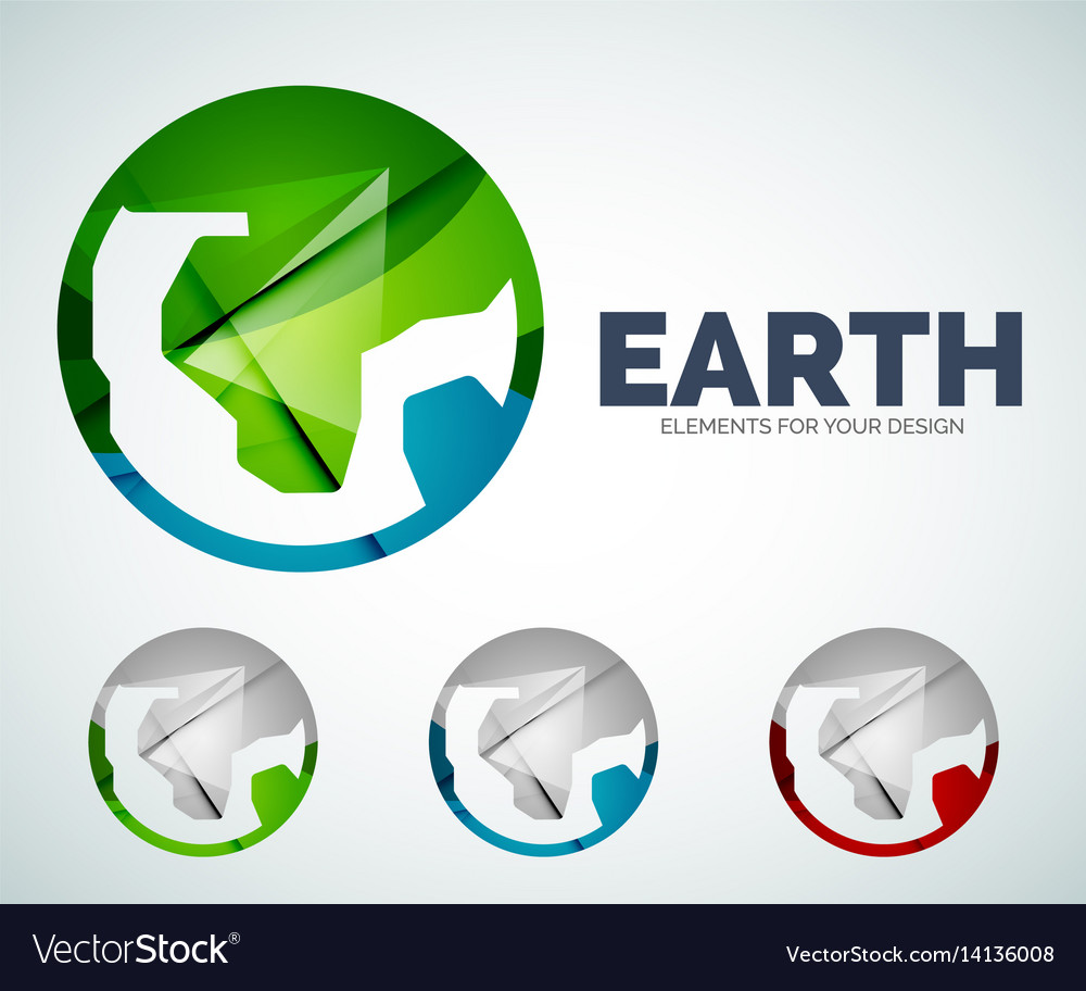 Earth globe circle abstract icons