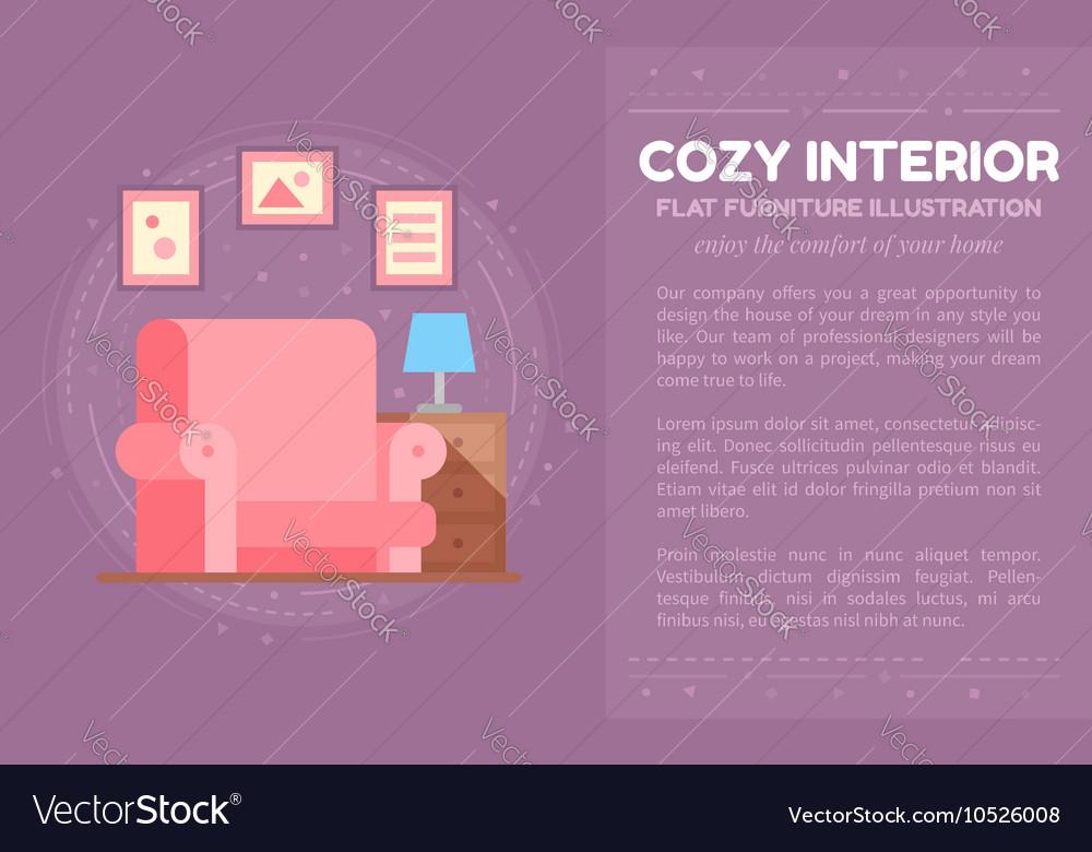 Flat cozy interior of a living room