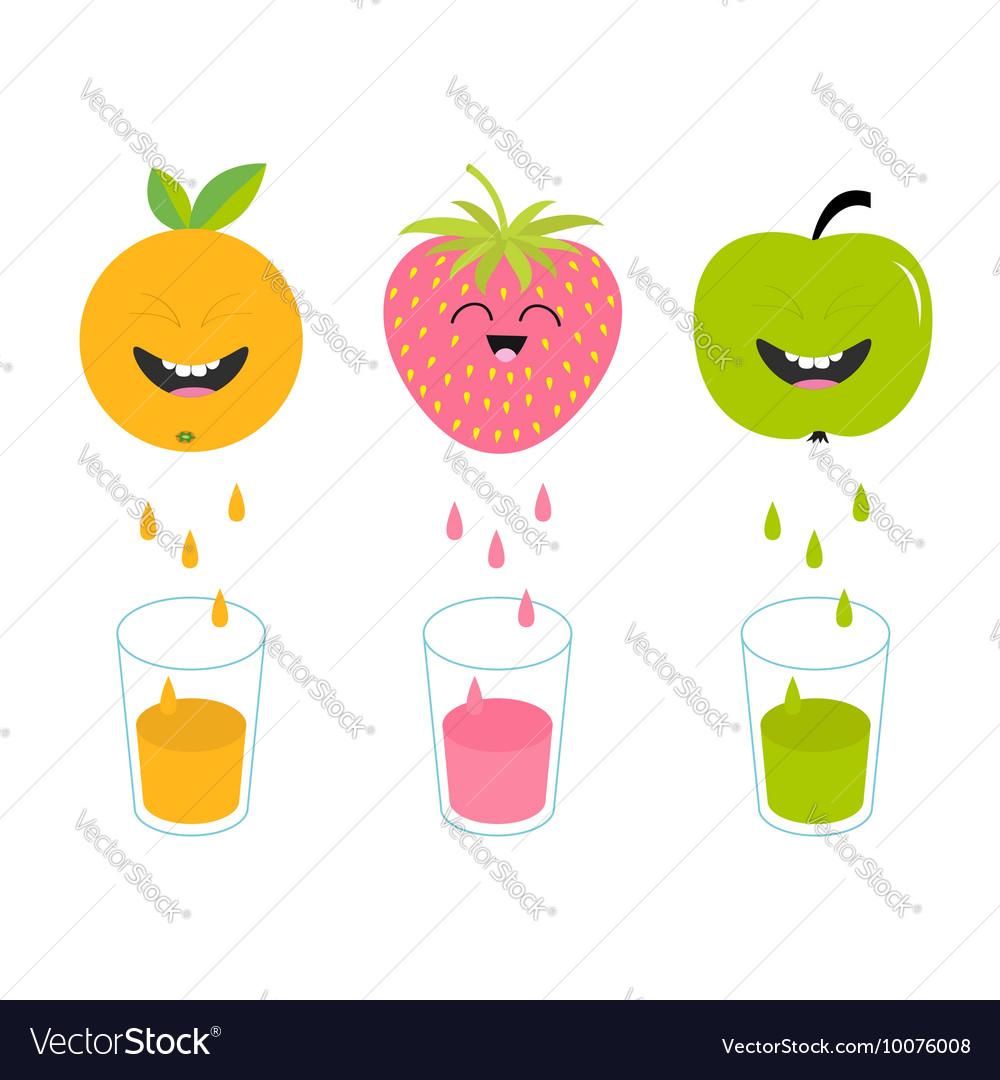 Fresh juice and glasses Apple strawberry orange