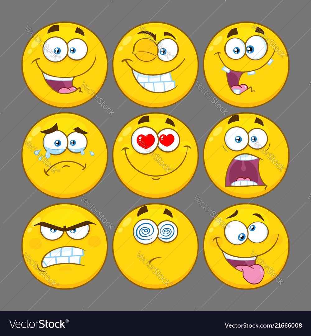 Funny yellow cartoon emoji face collection - 1