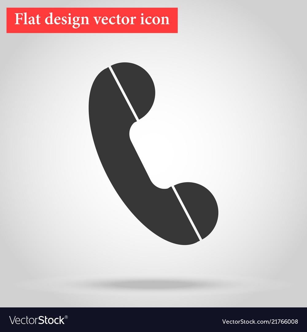 Handset of the landline home phone icon flat
