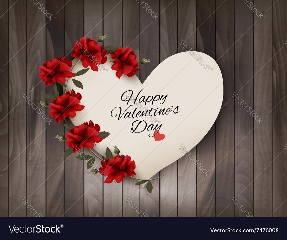 Happy Valentines Day background Retro greeting vector image
