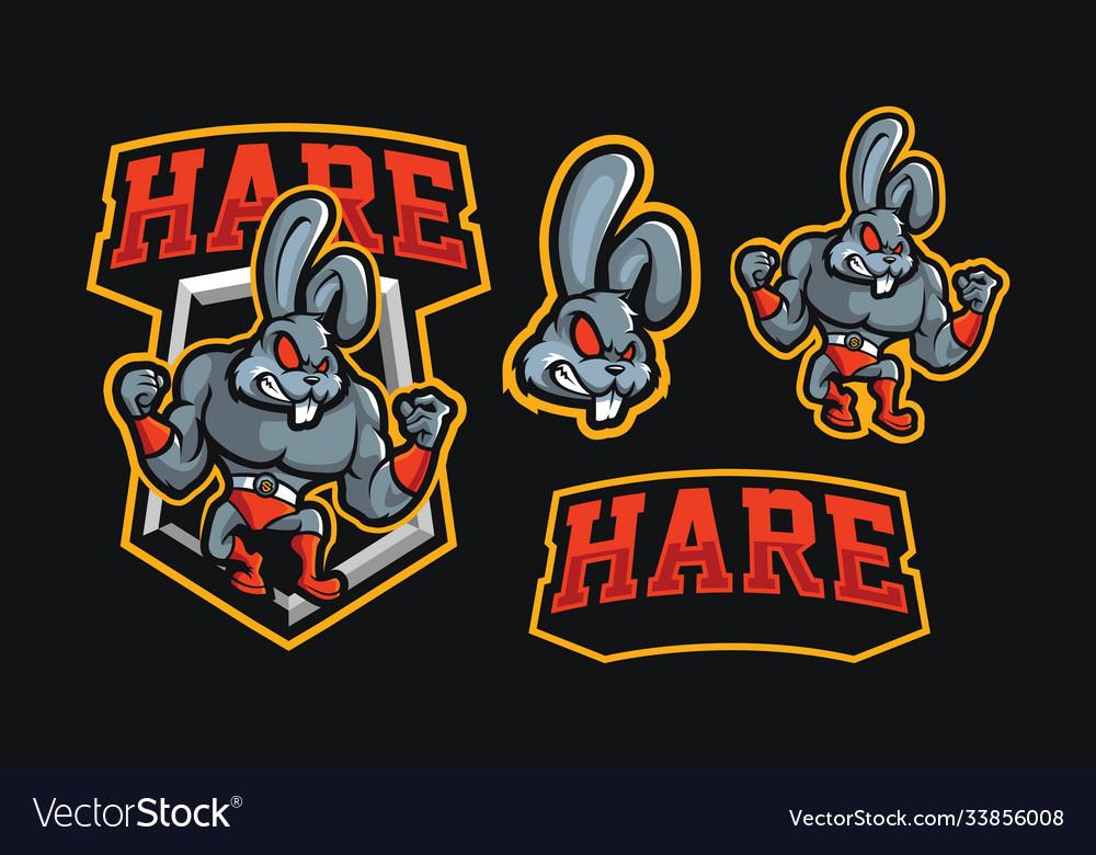 Hare wrestling mascot sport logo