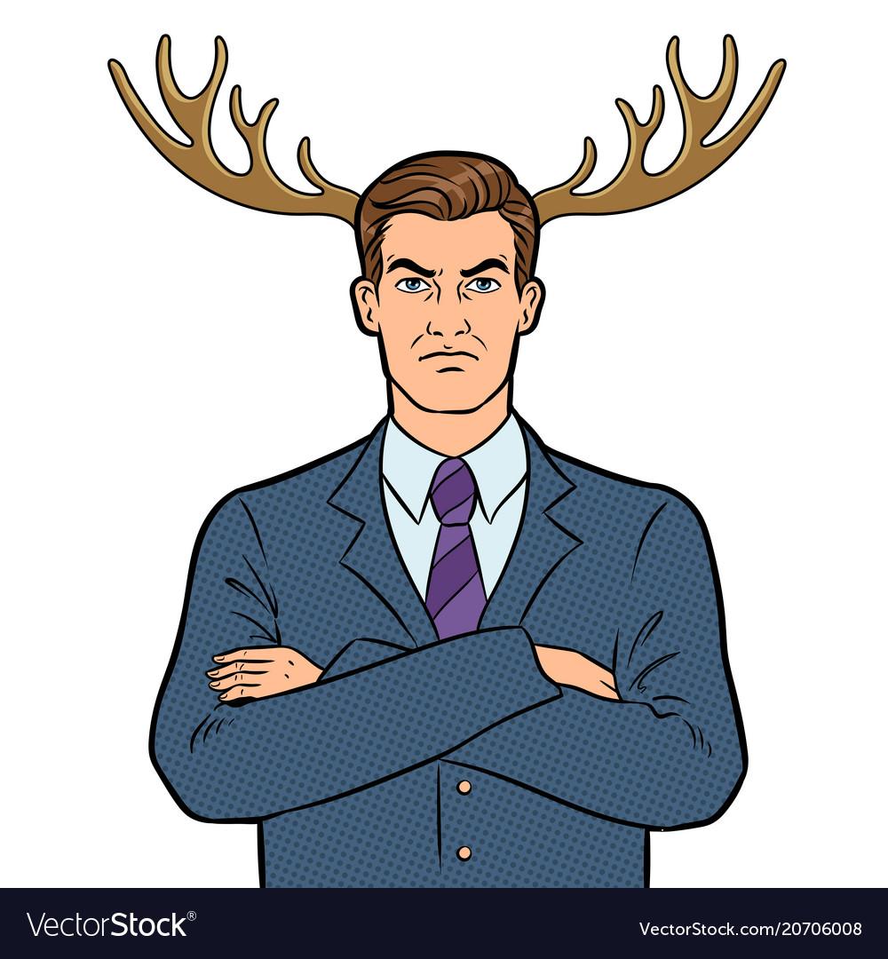 Husband businessman with deer horns pop art