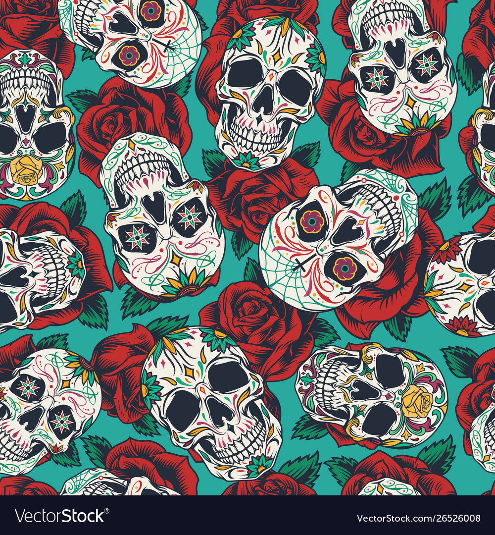Mexican Day Dead Seamless Pattern Royalty Free Vector Image