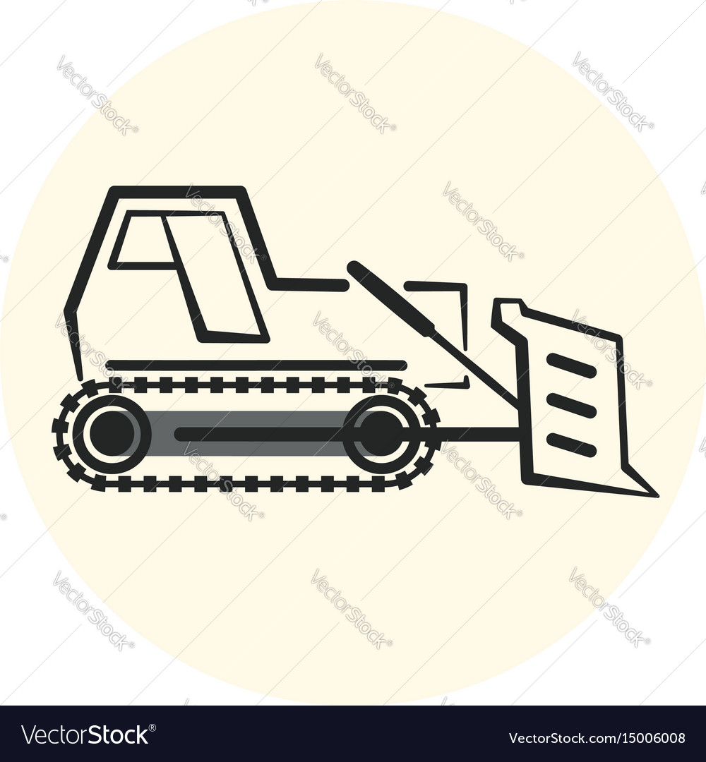 Outline earth mover icon bulldozer icon