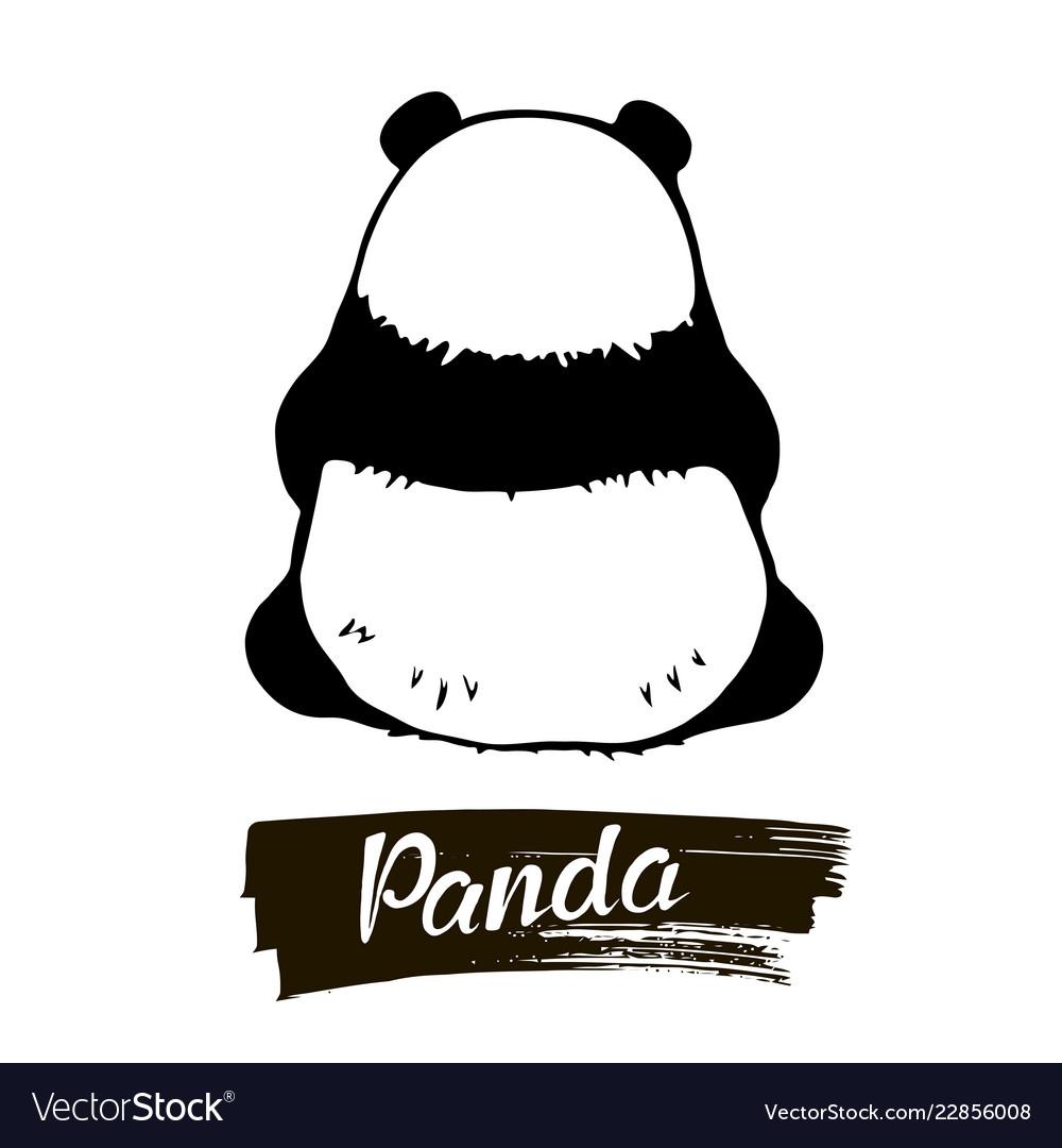 Sitting panda rear view