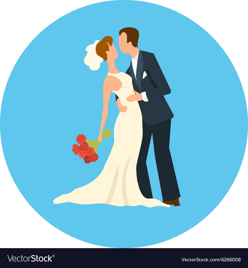 The groom and the bride in a white dress vector image