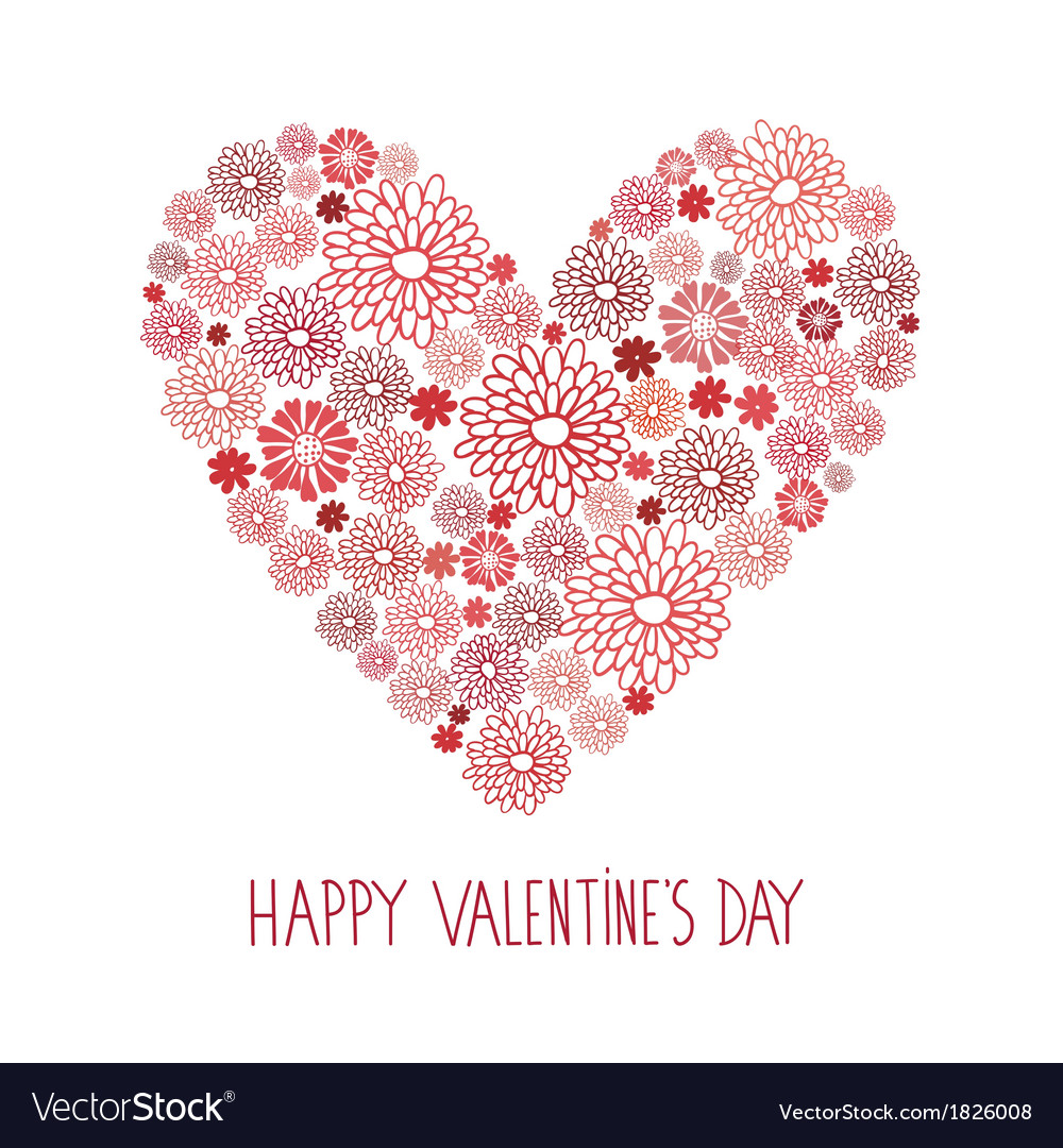 Valentines day red floral card
