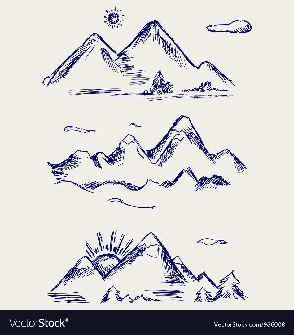 Various high mountain peaks vector image