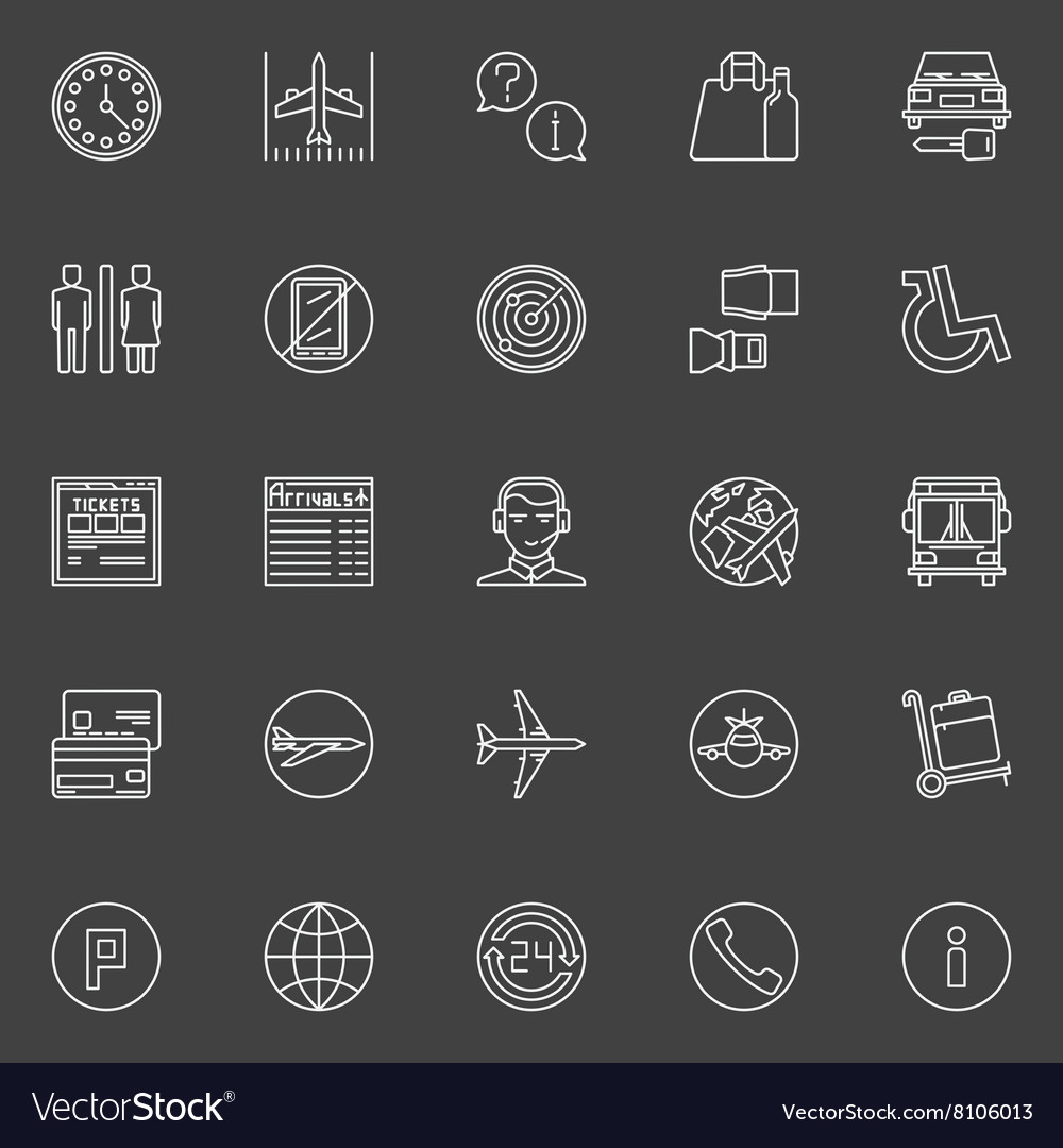 Air travel or airport line icons