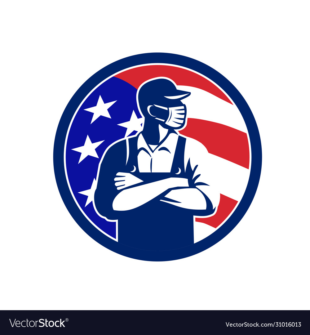 American supermarket worker wearing mask usa flag