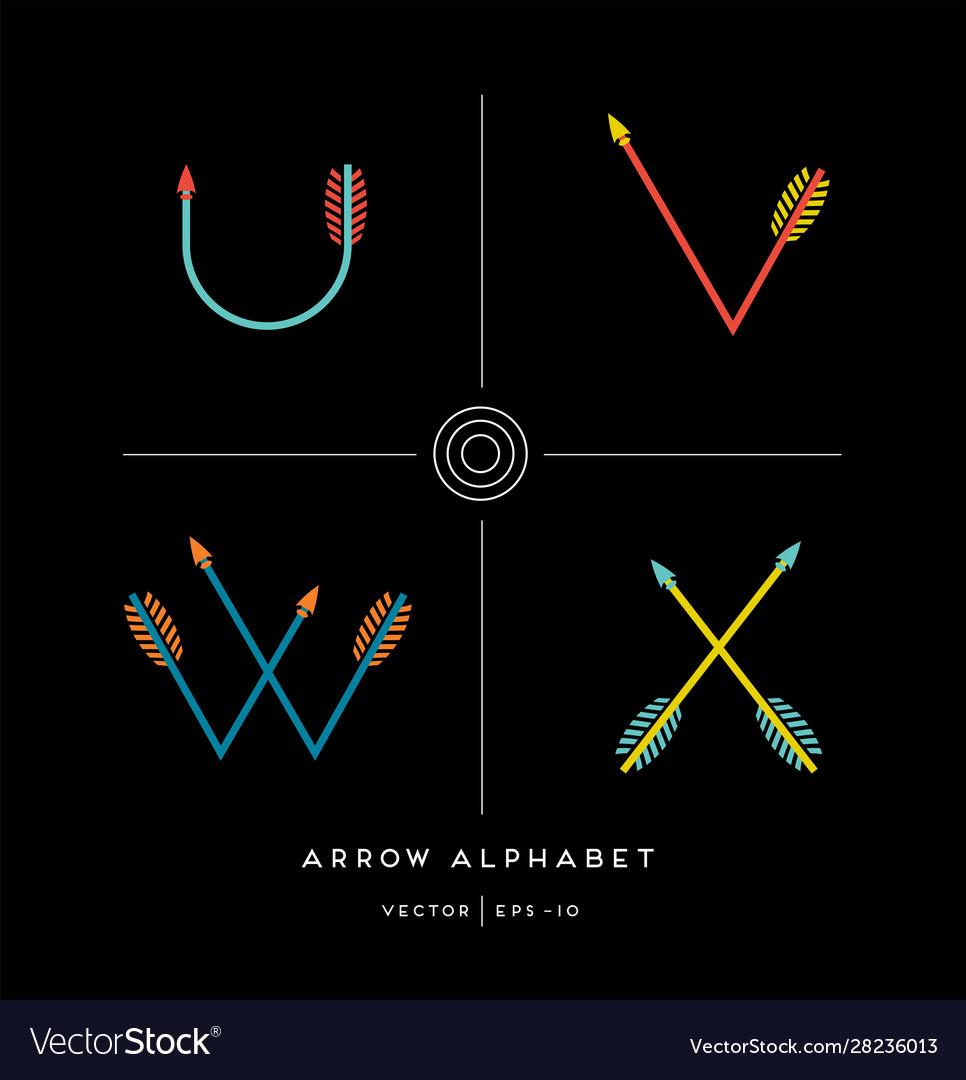 Archery arrow letters u v w x