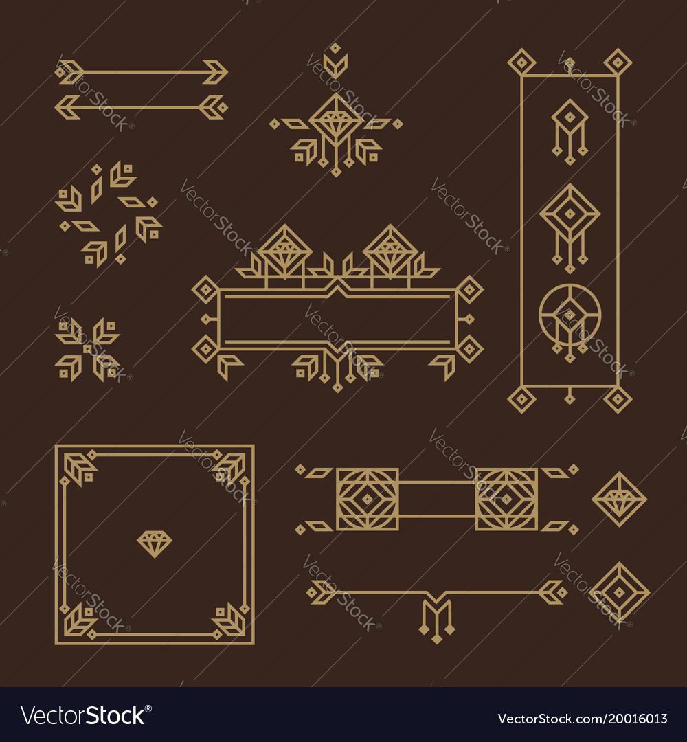 Art deco frame vintage design elements