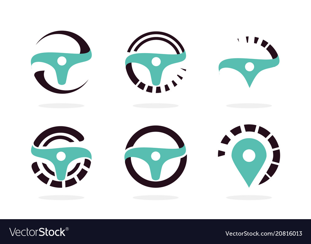Automotive icon set abstract helm