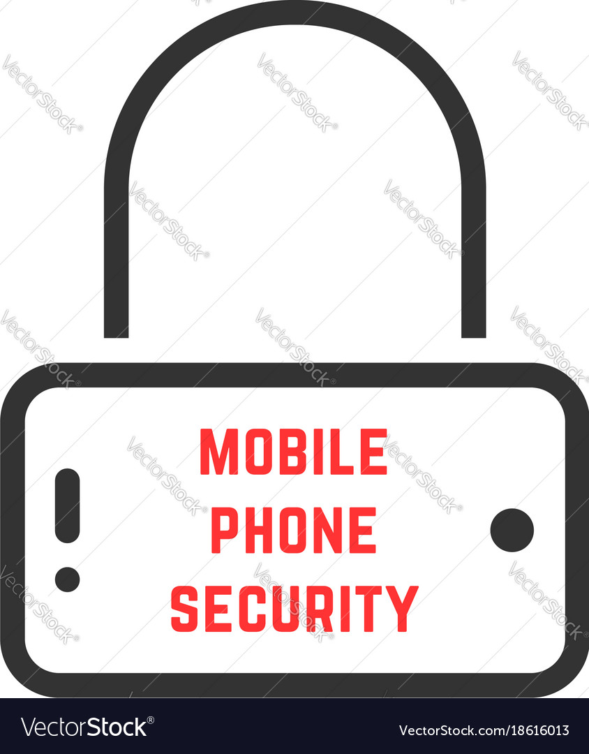 Black mobile phone security icon