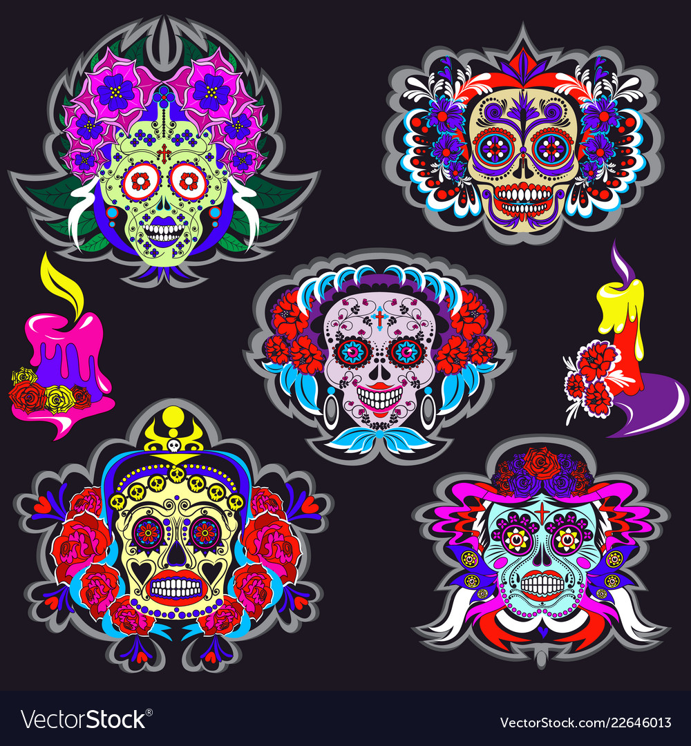 Cartoon skeletons with floral mexico ornaments set